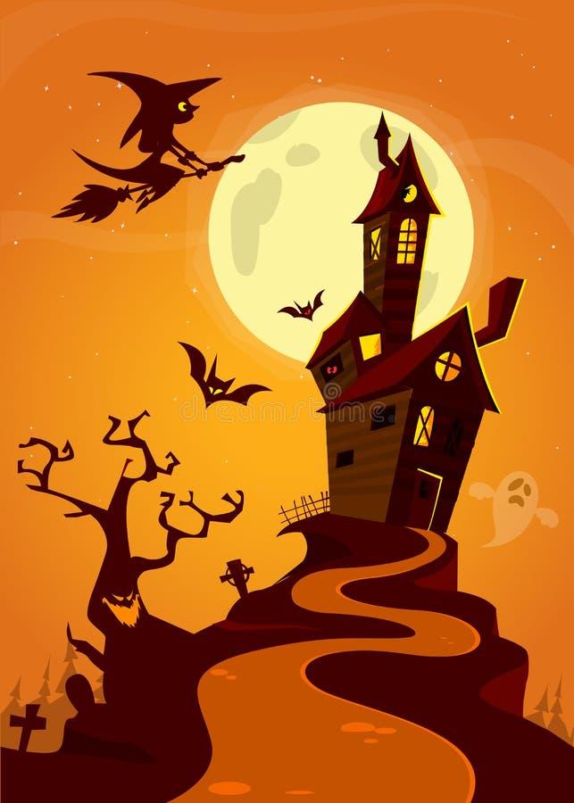 Läskig gammal spöke spökat hus Allhelgonaaftonkort eller affisch också vektor för coreldrawillustration royaltyfri illustrationer