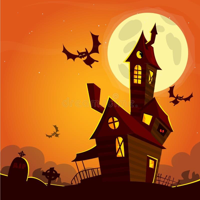 Läskig gammal spöke spökat hus Allhelgonaaftonkort eller affisch också vektor för coreldrawillustration stock illustrationer
