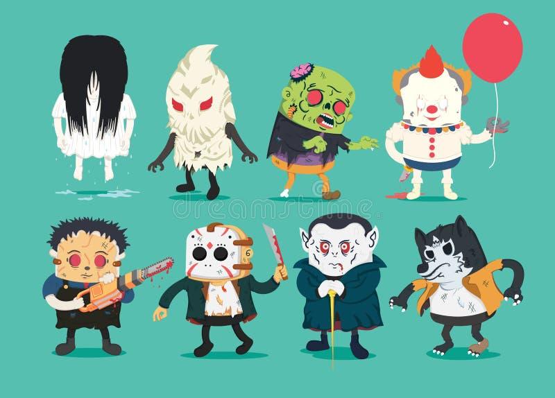 Läskig halloween designuppsättning med vektorvampyren, wolfman, spöke, vektor illustrationer