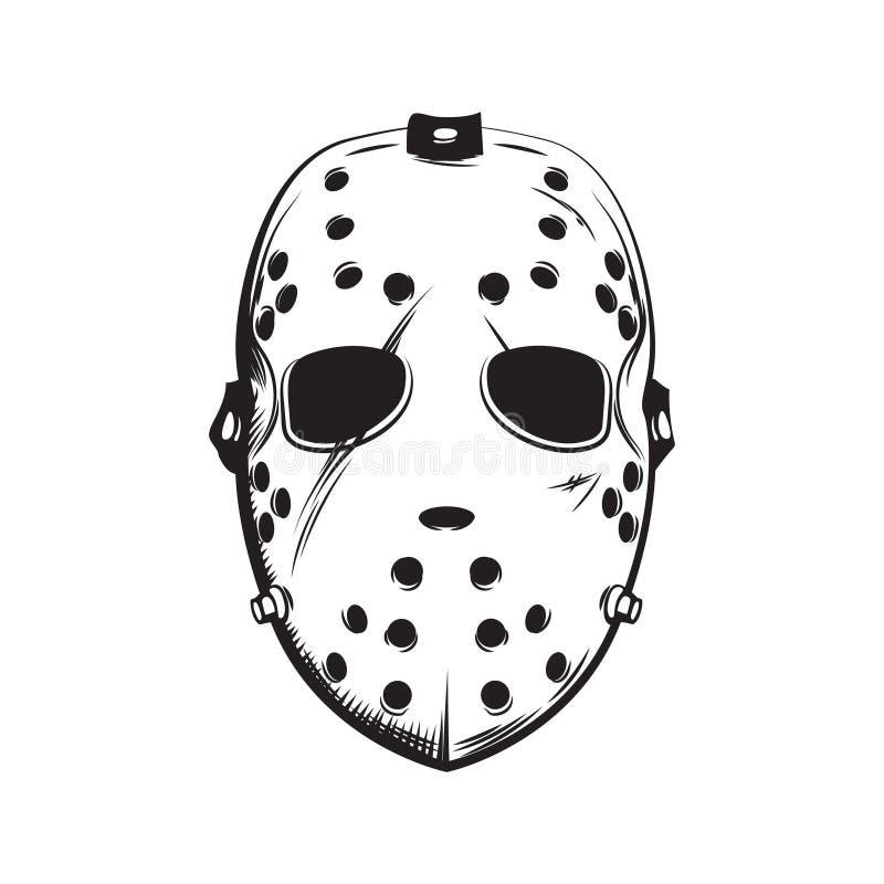 Läskig hockeymaskeringsillustration royaltyfri foto