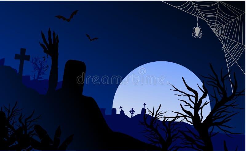 Läskig levande död för allhelgonaafton med nattplats royaltyfri illustrationer