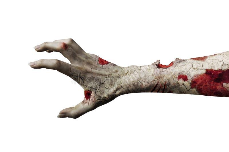 Läskig levande dödhand som isoleras på vit vektor illustrationer