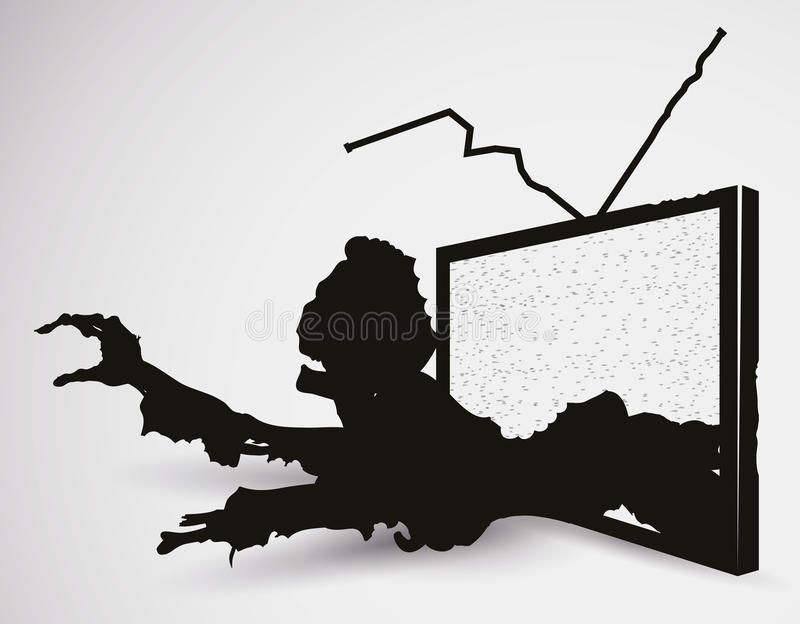 Läskig levande dödTV i konturer, vektorillustration stock illustrationer