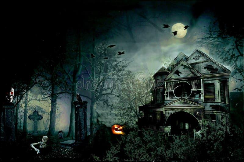 Läskig sakkunnig för hushalloween natt stock illustrationer