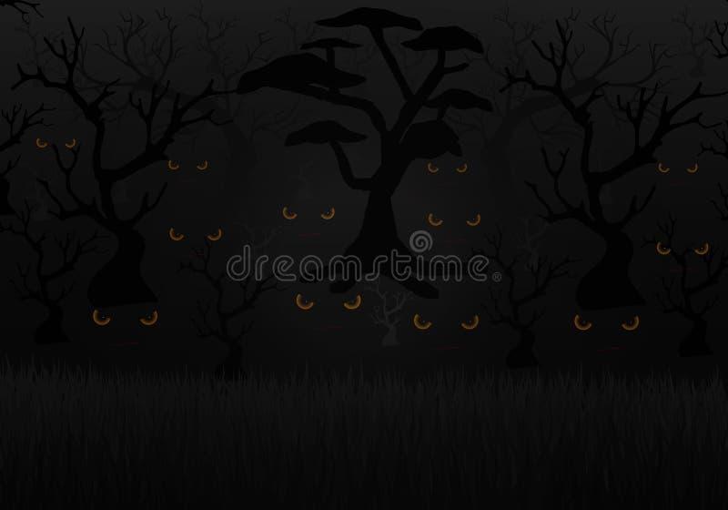 Läskiga ögon i den mörka skogen vektor illustrationer