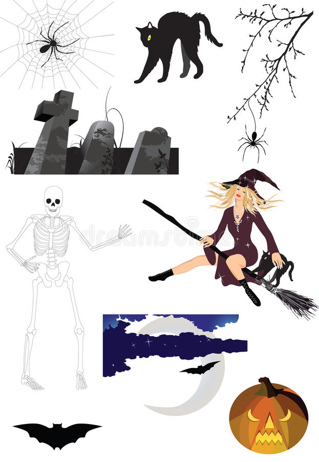 läskiga halloween royaltyfri illustrationer