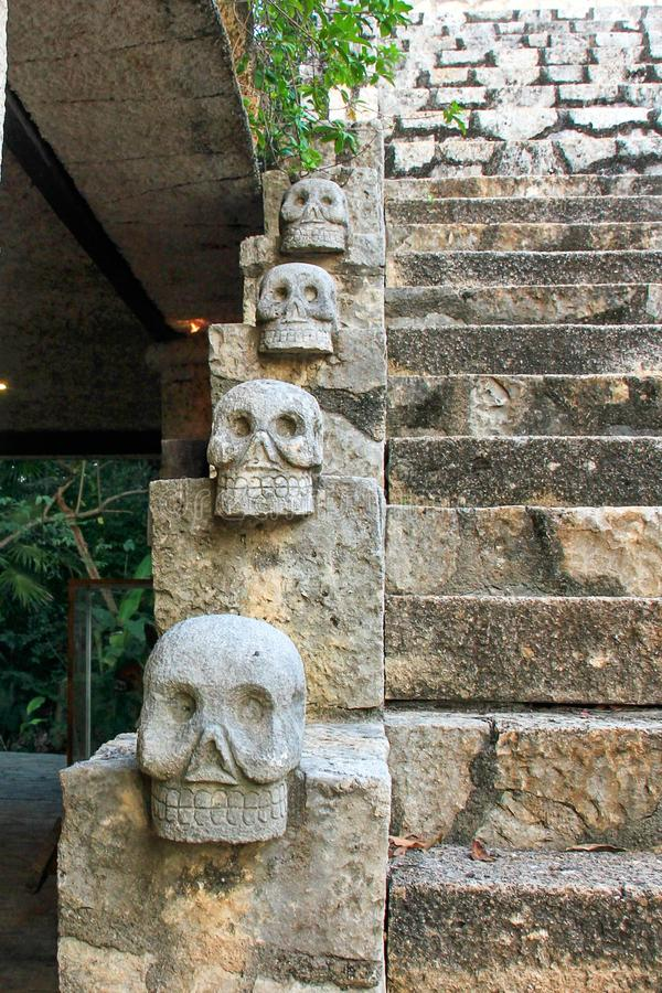 Läskiga mexicanska stenskallar stänger sig upp med trappa i bakgrunden arkivfoto