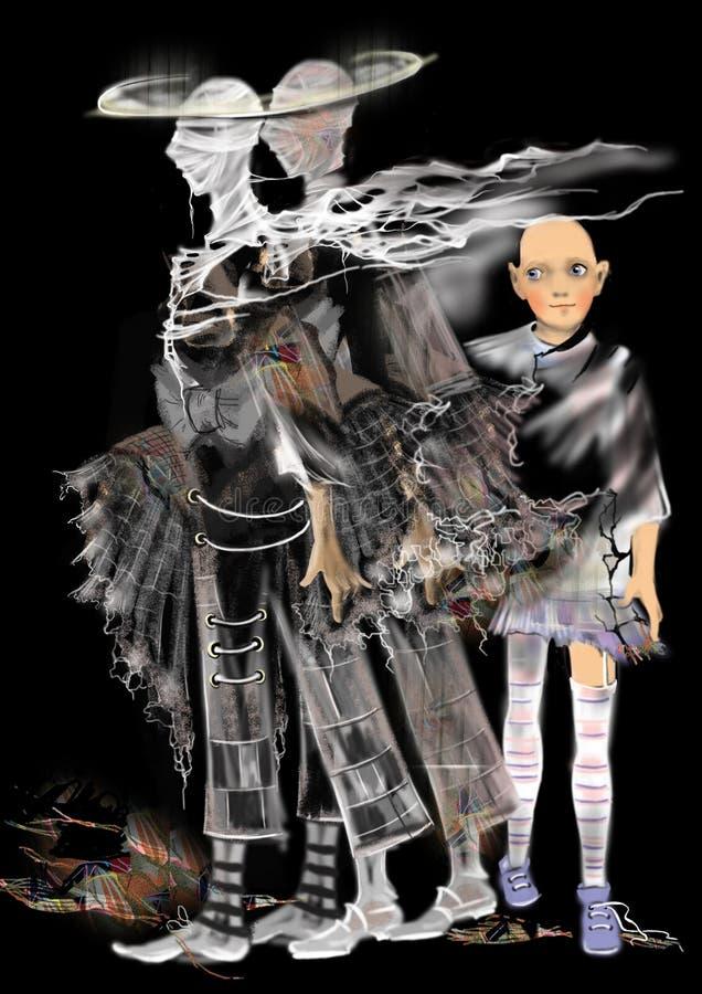 Läskiga spökar, en tvilling- spöke, en barnspöke, vektor illustrationer
