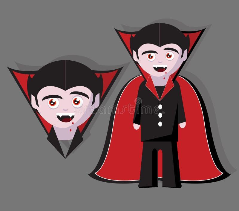 Läskigt halloween för vampyr tecken på grå bakgrund royaltyfri illustrationer