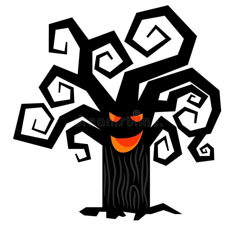 Läskigt halloween träd som isoleras på vit vektor illustrationer