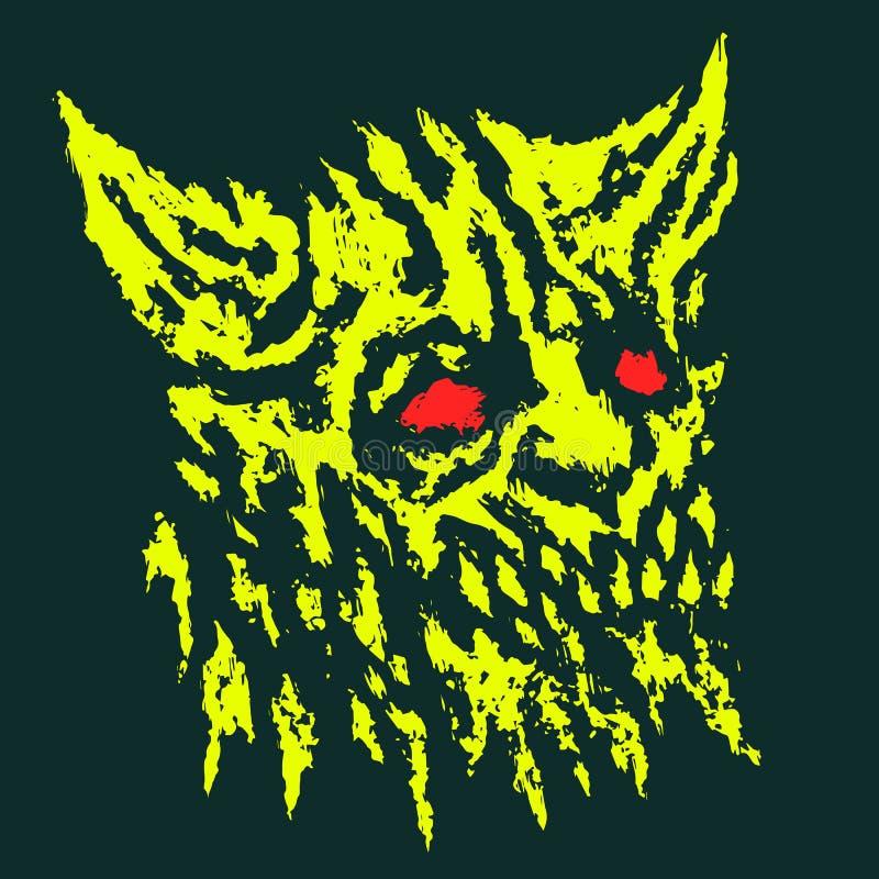 Läskigt huvud av den horned demonen också vektor för coreldrawillustration royaltyfri illustrationer