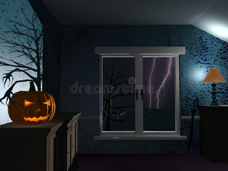 Halloween regnig natt royaltyfri illustrationer
