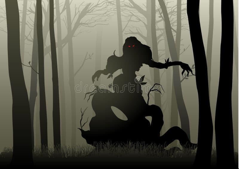 Läskigt monster i mörka trän stock illustrationer