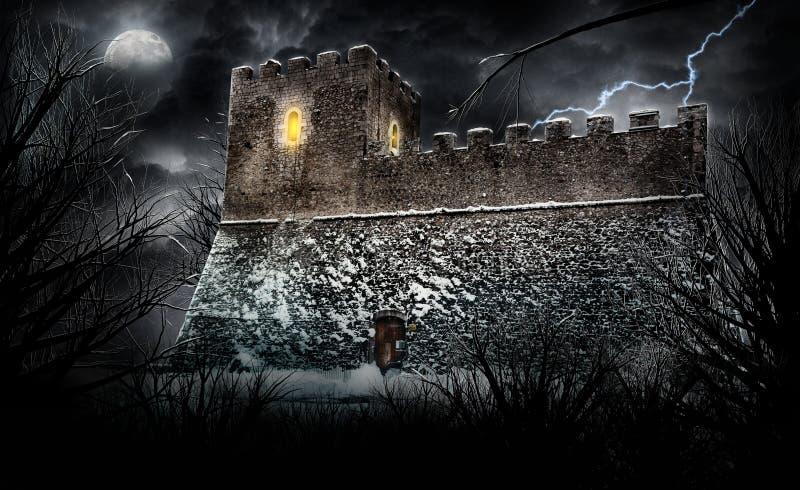 läskigt slott arkivbild