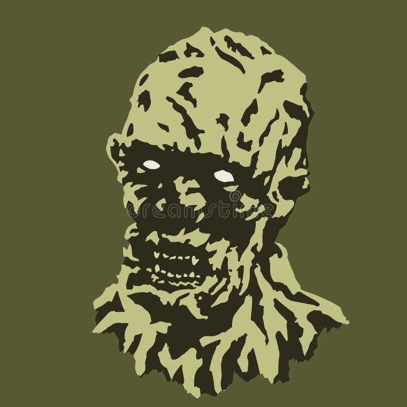 Läskigt vampyrhuvud också vektor för coreldrawillustration Fasagenren royaltyfri illustrationer