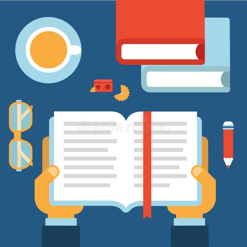 Läsning för boken för den plana affären för stil moderna räcker skrivbords- symbolsuppsättningen vektor illustrationer