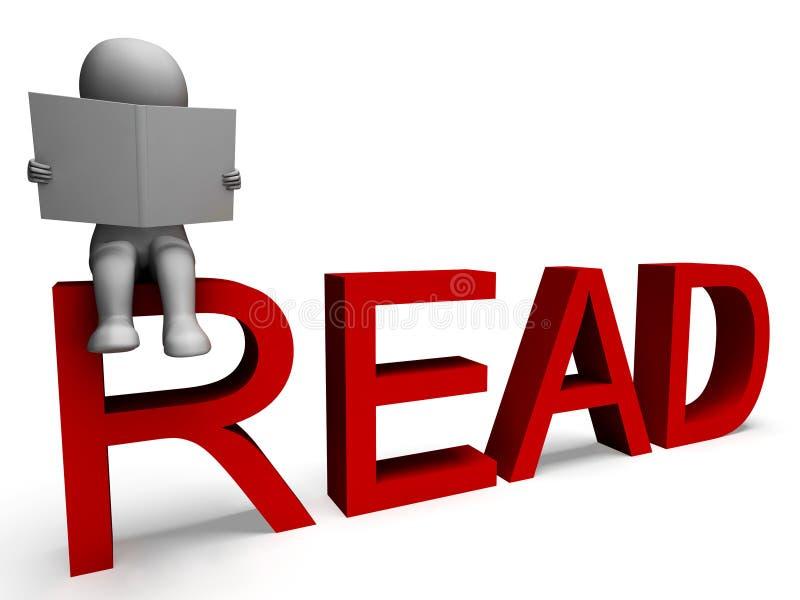 läsning för teckenet 3d visar intellekt stock illustrationer