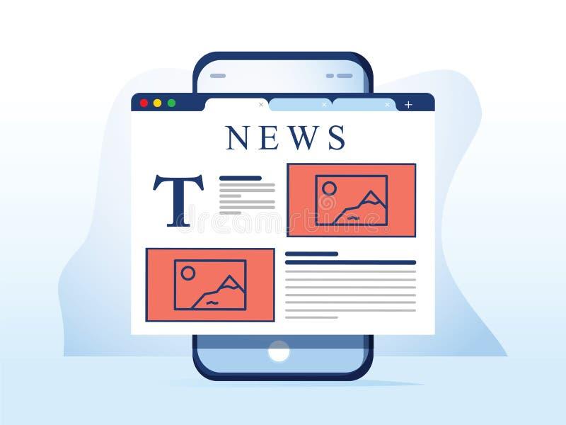 Läsningnyheterna på smartphonen Online-tidningswebsiten öppnade i mobil webbläsare på den smarta telefonen Nyheternaapp, online-m royaltyfri illustrationer