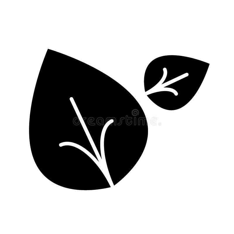 Lässt feste Ikone Vektorillustration mit zwei Blättern lokalisiert auf Weiß Natur Glyph-Artdesign, bestimmt für Netz und APP stock abbildung