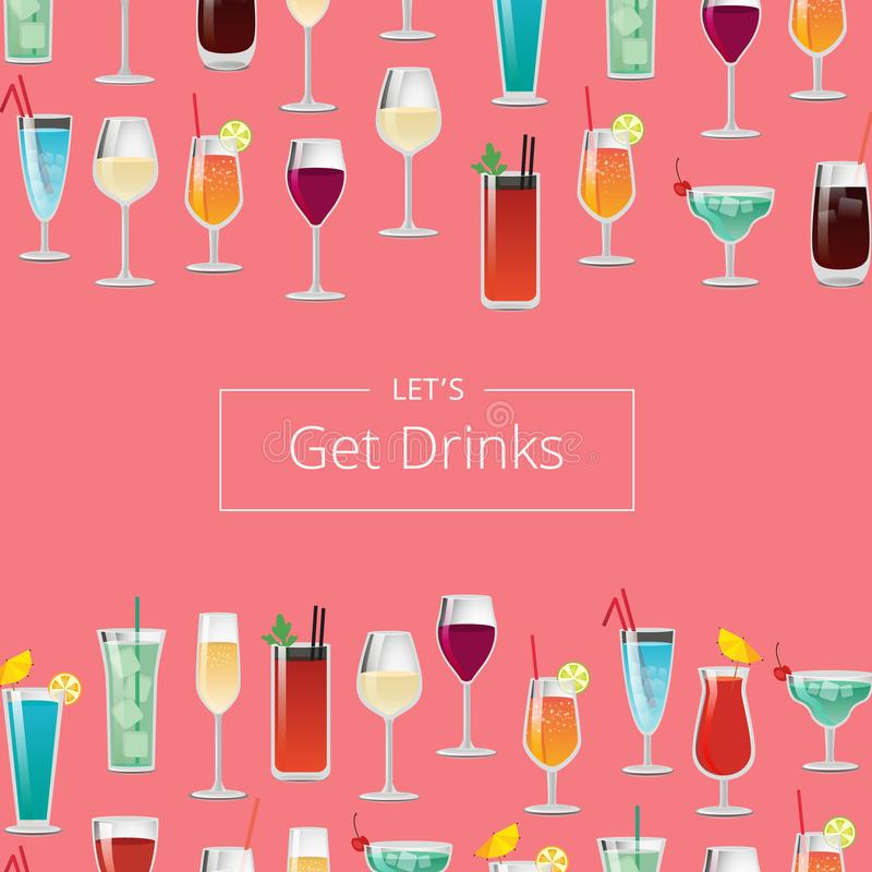 Lässt Getränk-Plakat mit Cocktails und Champagne erhalten stock abbildung