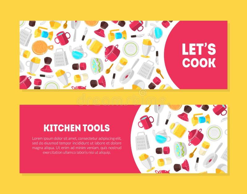 Lässt Koch, die Küchen-Werkzeug-Fahnen-Schablonen, die mit Platz für Text eingestellt werden und Kochgeräte Muster, Gestaltungsel lizenzfreie abbildung