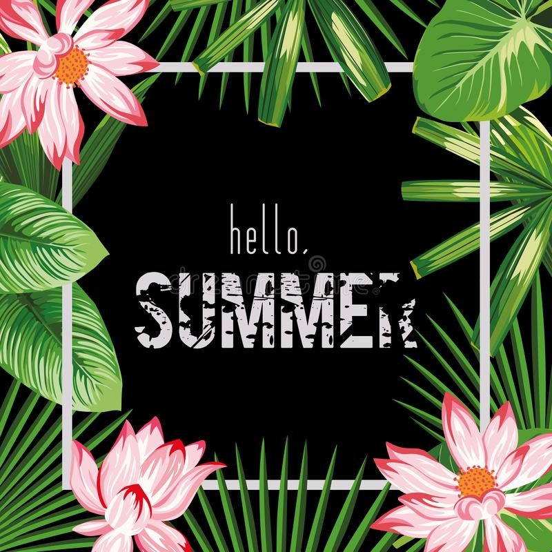 Lässt rosa Lotosgrün des botanischen Rahmensloganhallo Sommers schwarzen Hintergrund stock abbildung
