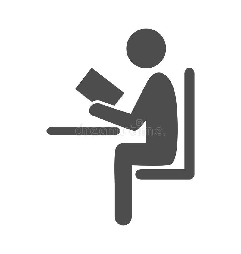 Läst pictogram för symbol för bokmanlägenhet på vit stock illustrationer