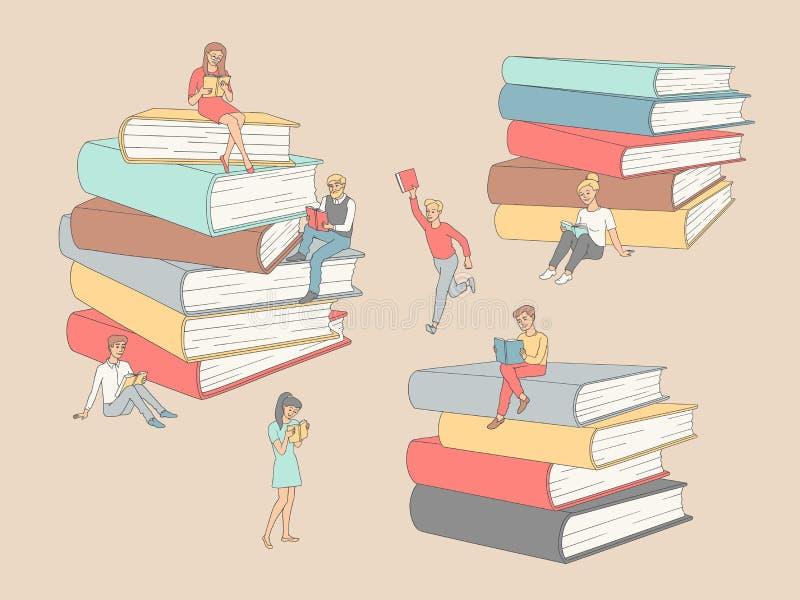Läste det plana vuxna folket för vektor bokutbildningsuppsättningen vektor illustrationer