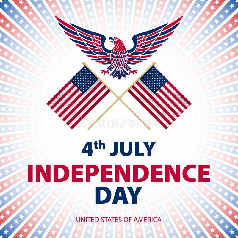 Lätt att redigera vektorillustrationen av örnen med amerikanska flaggan för självständighetsdagen vektor illustrationer