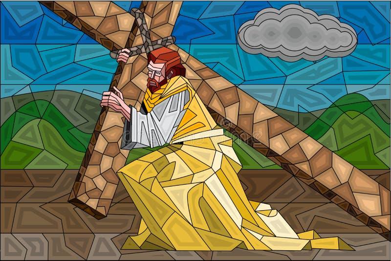 Målat glassmålning av Crucifixion royaltyfri illustrationer