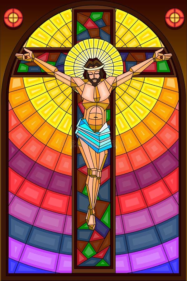 Målat glassmålning av Crucifixion vektor illustrationer