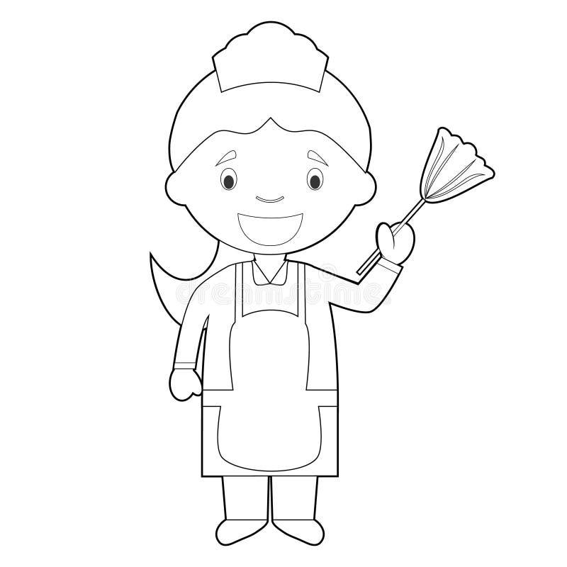 Lätt färga tecknad filmvektorillustration av en hembiträde eller en rengörande flicka stock illustrationer