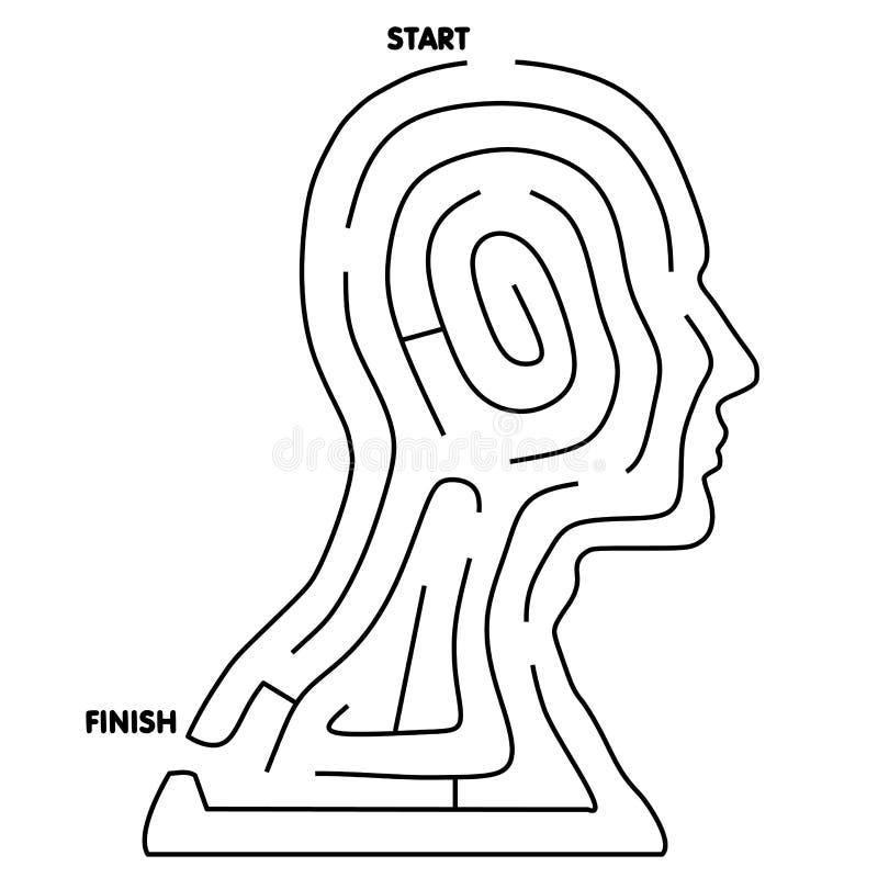 lätt head maze löser till royaltyfri illustrationer