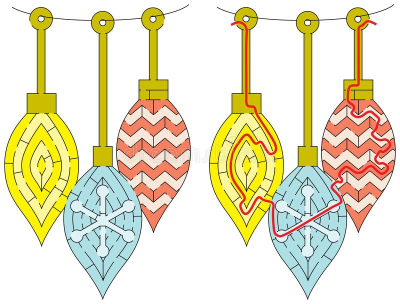 Lätt julprydnadlabyrint vektor illustrationer
