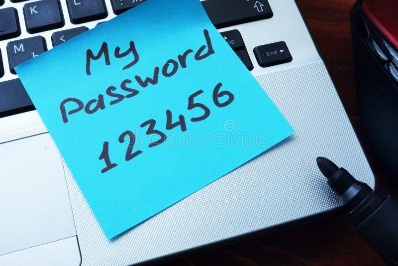 Lätt lösenordbegrepp Mitt lösenord 123456 som är skriftligt på ett papper arkivbilder