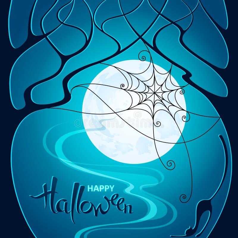 lätt redigera den halloween bildnatten till vektorn Mörka träd, rengöringsduk och en katt på backgrou för blå måne vektor illustrationer