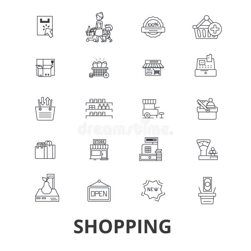 lätt redigera set shopping för symbolen till vektorn royaltyfri illustrationer