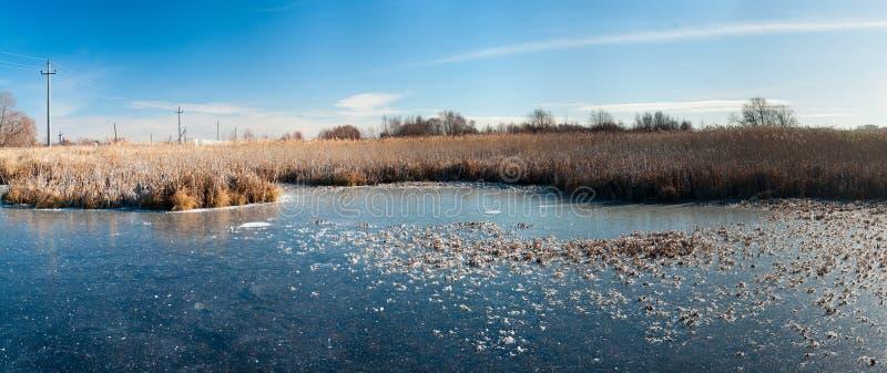 Lätt snö-täckt djupfryst damm fotografering för bildbyråer