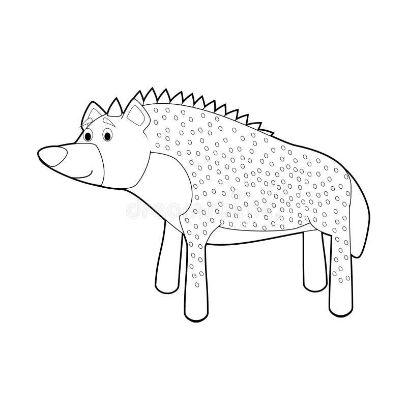 Lätta färgläggningdjur för ungar: Hyena stock illustrationer