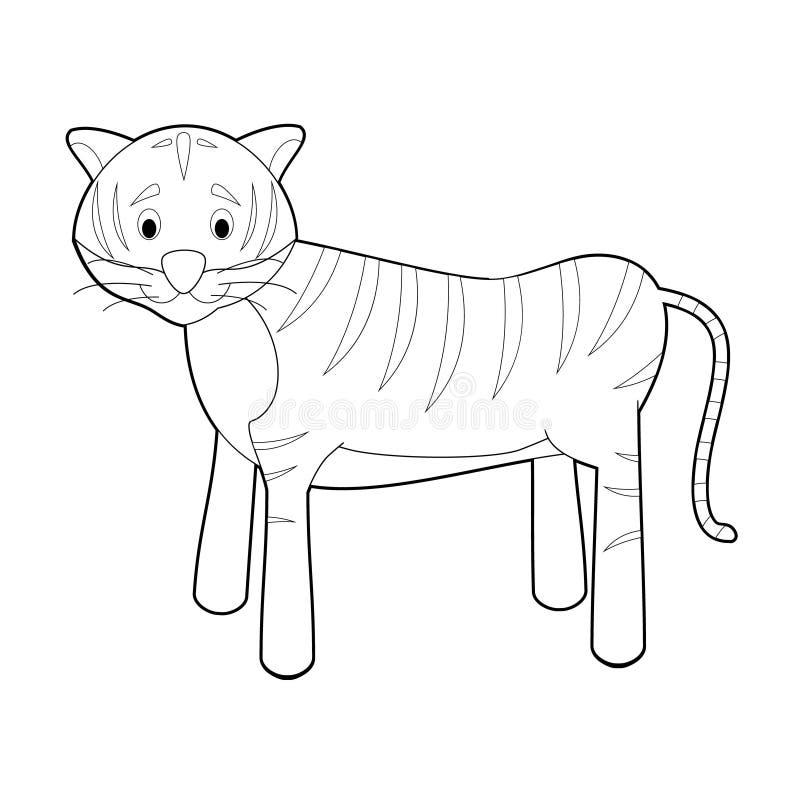 Lätta färgläggningdjur för ungar: Tiger royaltyfri illustrationer