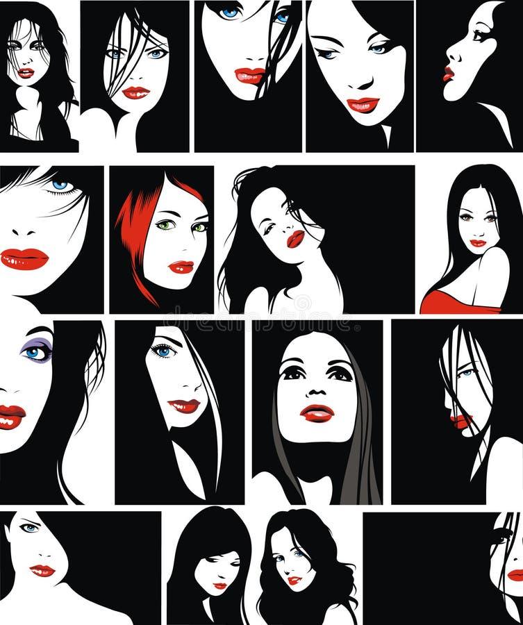 Lätta framsidor av flickor med röda kanter royaltyfri illustrationer