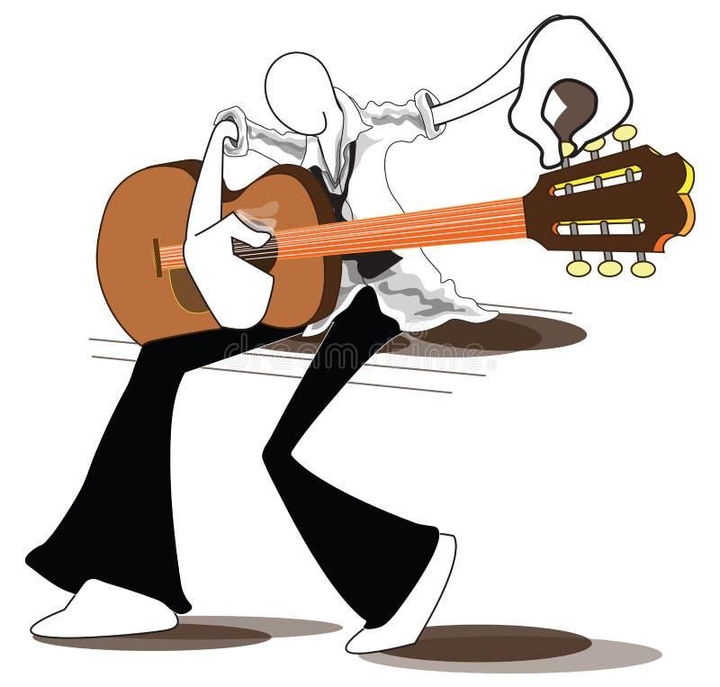 Lättare trimma gitarr för man stock illustrationer