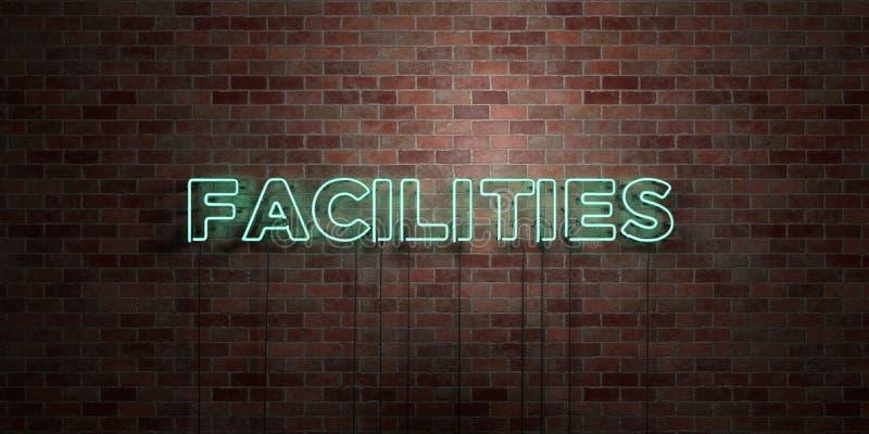 LÄTTHETER - fluorescerande tecken för neonrör på murverk - främre sikt - 3D framförd fri materielbild för royalty vektor illustrationer