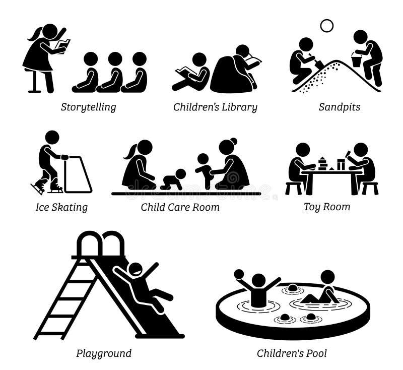 Lättheter och aktiviteter för barn fritids- stock illustrationer