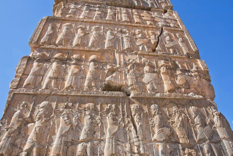 Lättnad av den historiska Persepolis forntida staden, Iran Lokal för Unesco-världsarv arkivbild