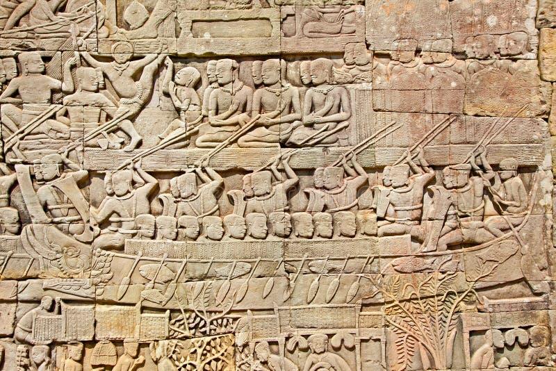 Lättnad av den Prasat Bayon templet, Cambodja arkivfoton