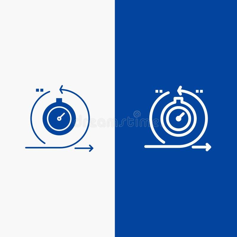 Lättrörlig, för cirkulering, för utveckling, snabb, för upprepningslinje och för skåra för fast symbol för blå för baner symbol f vektor illustrationer