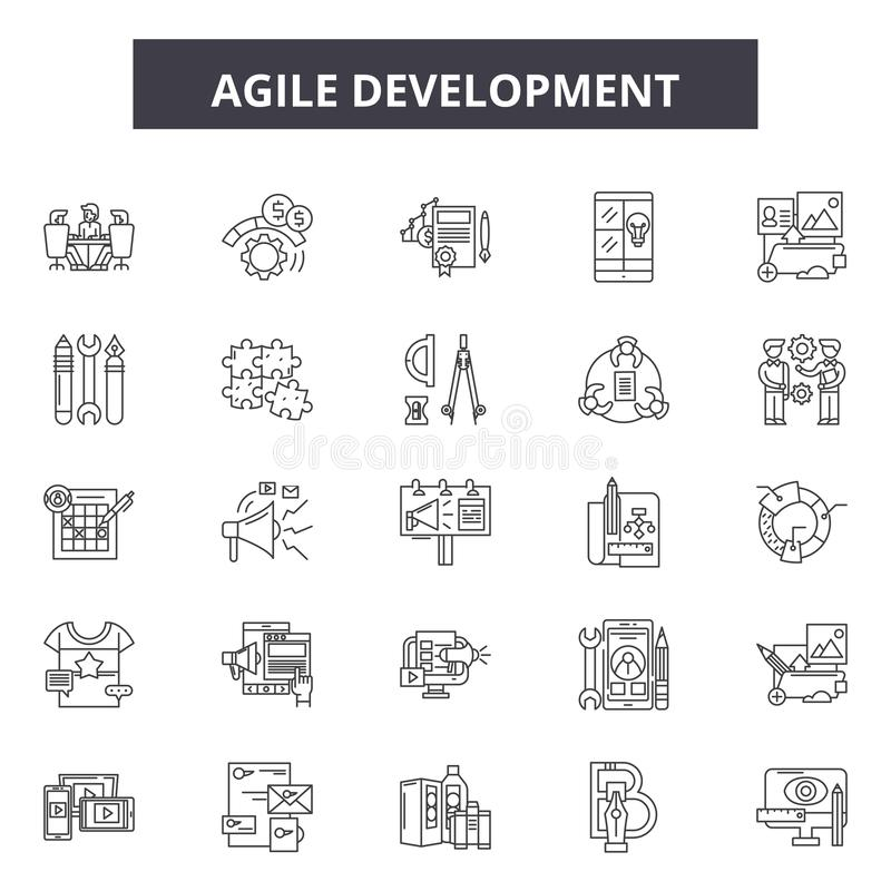 Lättrörlig utvecklingslinje symboler, tecken, vektoruppsättning, översiktsillustrationbegrepp stock illustrationer
