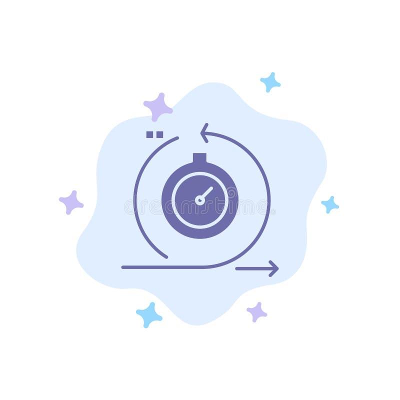 Lättrörligt cirkulering, utveckling som är snabb, blå symbol för upprepning på abstrakt molnbakgrund vektor illustrationer