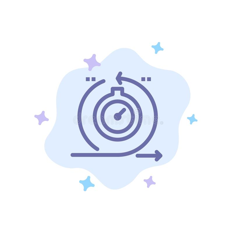 Lättrörligt cirkulering, utveckling som är snabb, blå symbol för upprepning på abstrakt molnbakgrund stock illustrationer